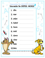 Unscramble the Dental Words activity sheet - Pediatric Dentist in Waxahachie, TX