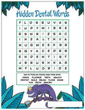 Hidden Dental Words activity sheet - Pediatric Dentist in Waxahachie, TX